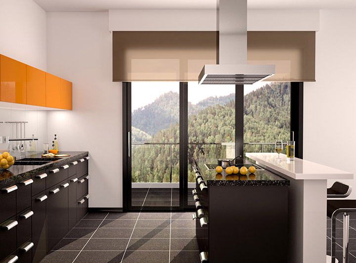 Estores enrollarles para puertas de cocina modernas