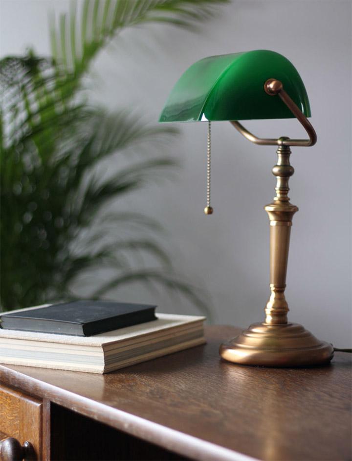 Lámpara de mesa estilo banquero