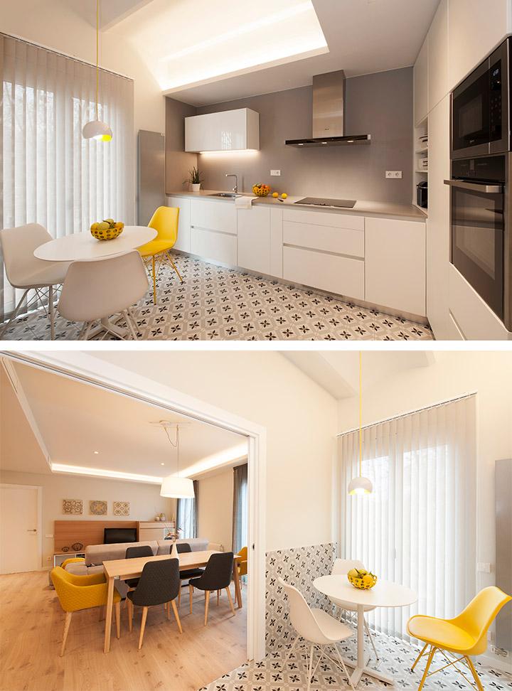 Cocina con la bóveda catalana original de la vivienda