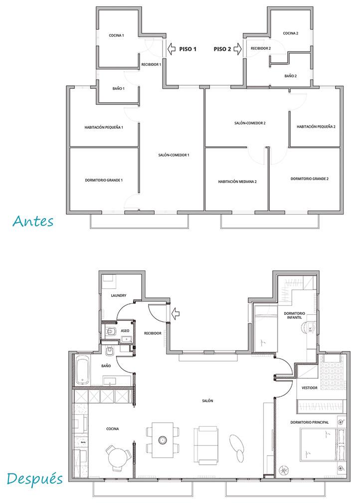 Planos del antes y el después de la reforma del piso en Poblenou por Bysincro
