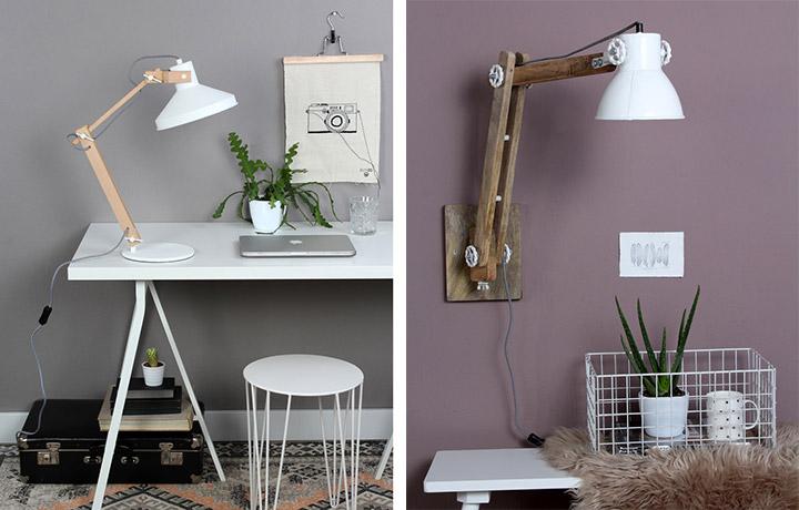 Lámpara y aplique de madera para mesa de escritorio