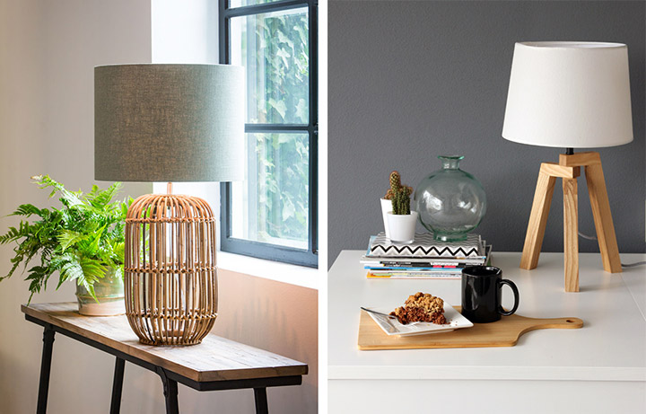 Lámparas de madera de bambú para mesa