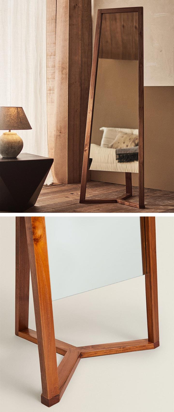 Espejo de pie de madera de Teca Zara Home