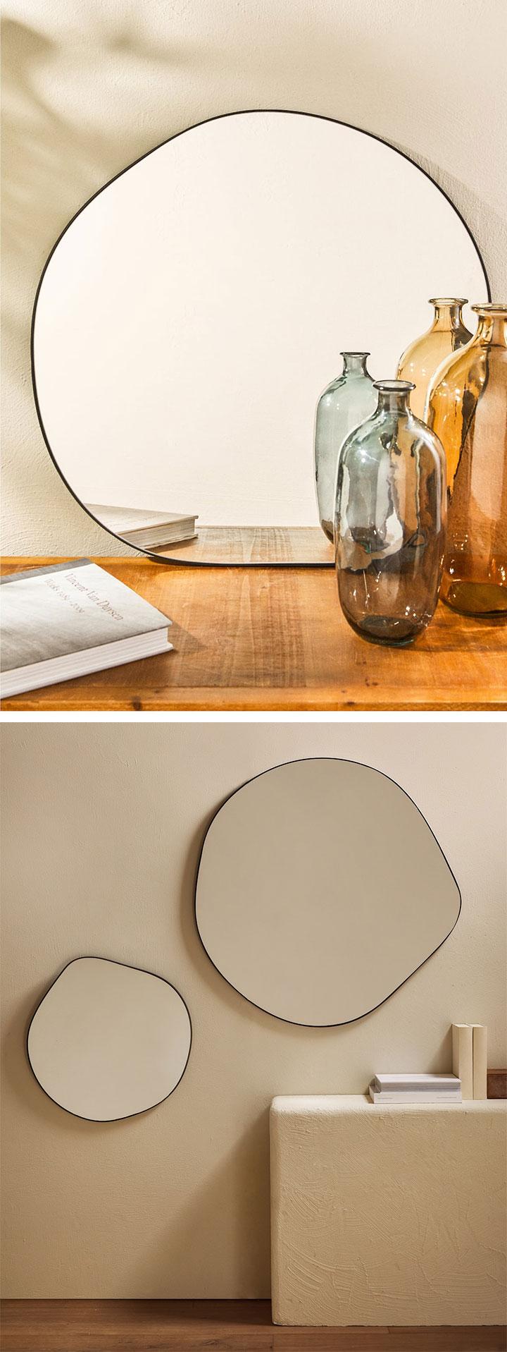 Espejos redondos irregulares en Zara Home