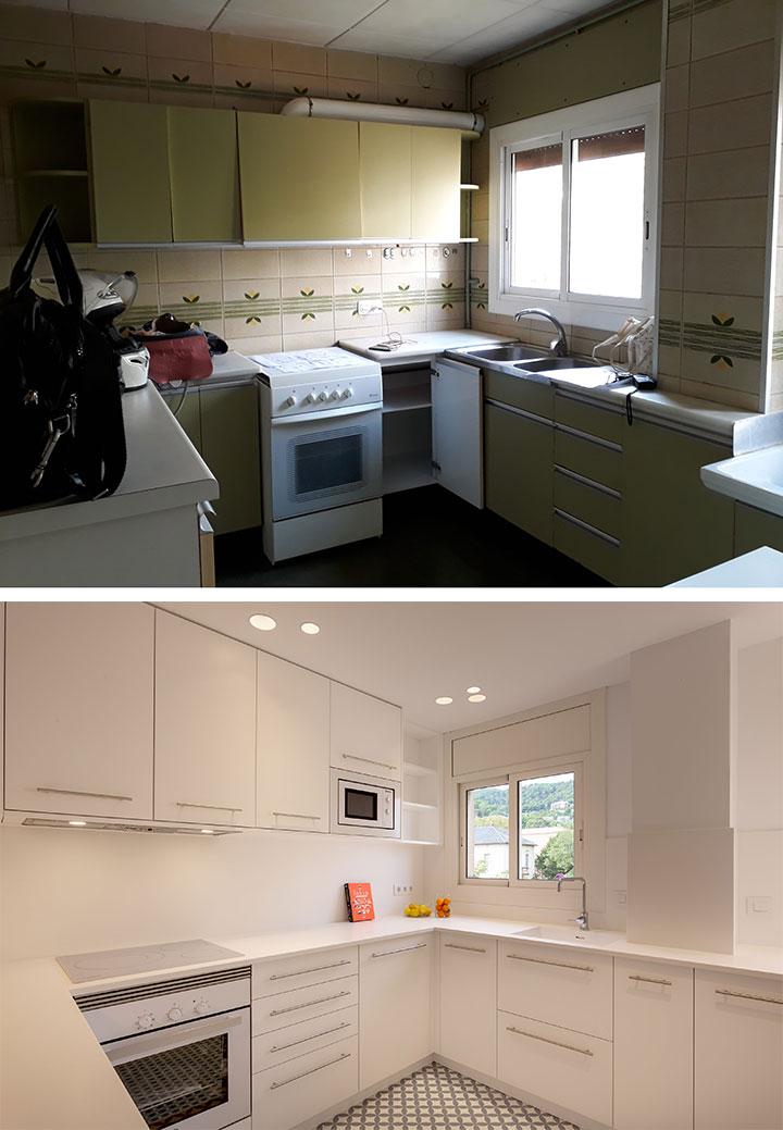 Antes y después de la reforma de la cocina de un piso en Barcelona