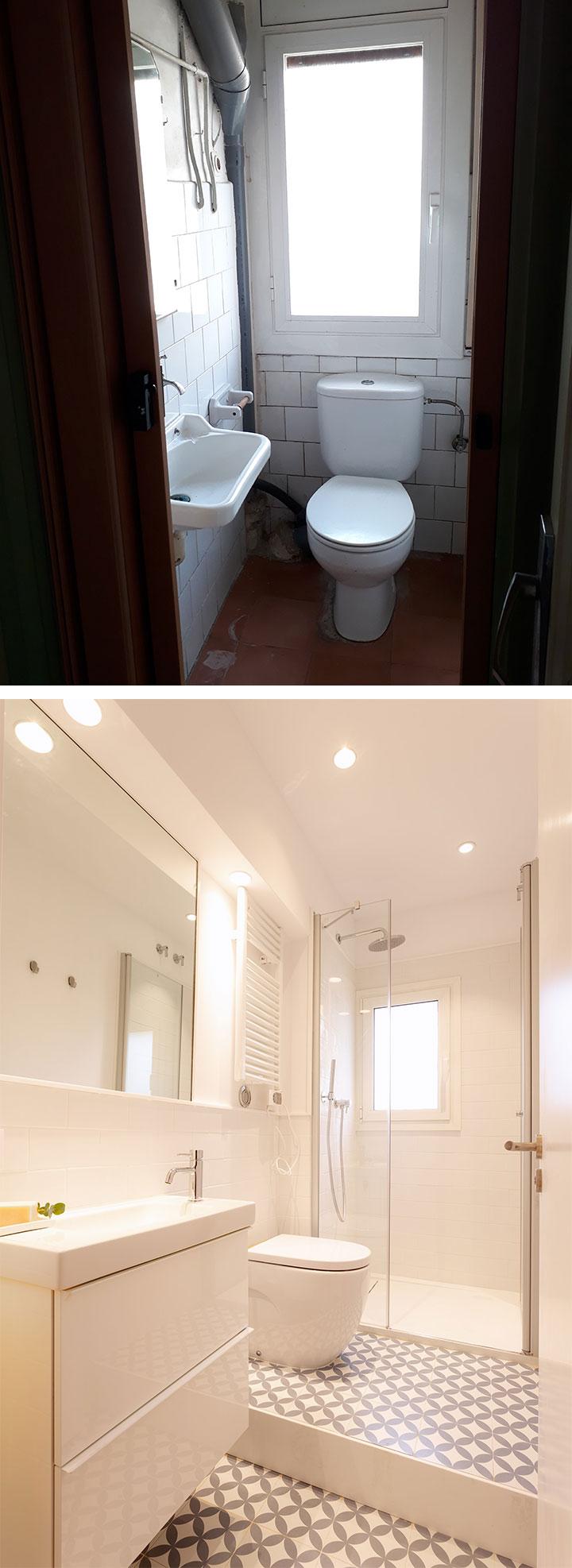 Antes y después de la reforma del cuarto de baño