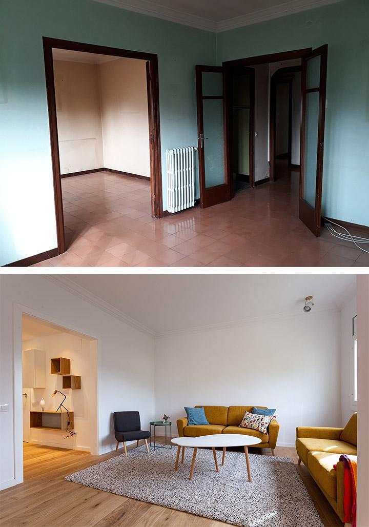 Foto del antes y después del salón