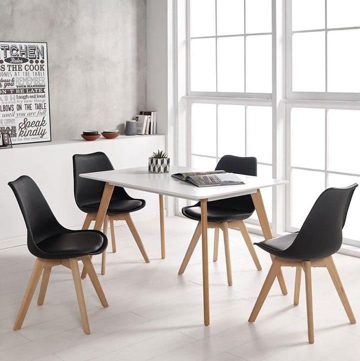 Combinar la mesa y sillas del comedor al estilo nórdico