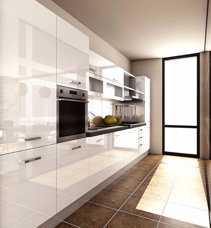 Cocina moderna alargada con ventanas bajas