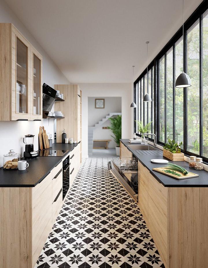 Cocinas modernas con ventanas alargadas