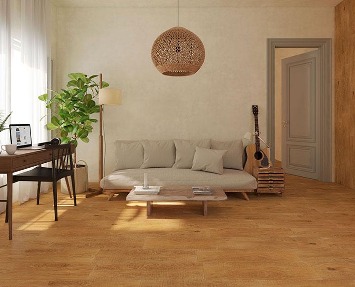 Azulejos imitación madera para el suelo del salón