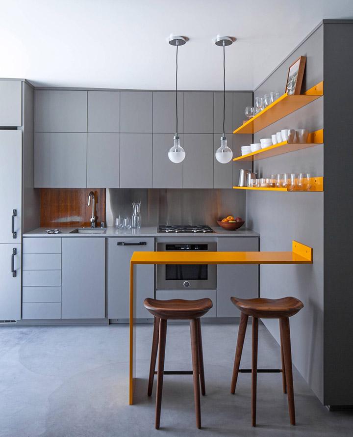 Cocina de diseño pequeña gris