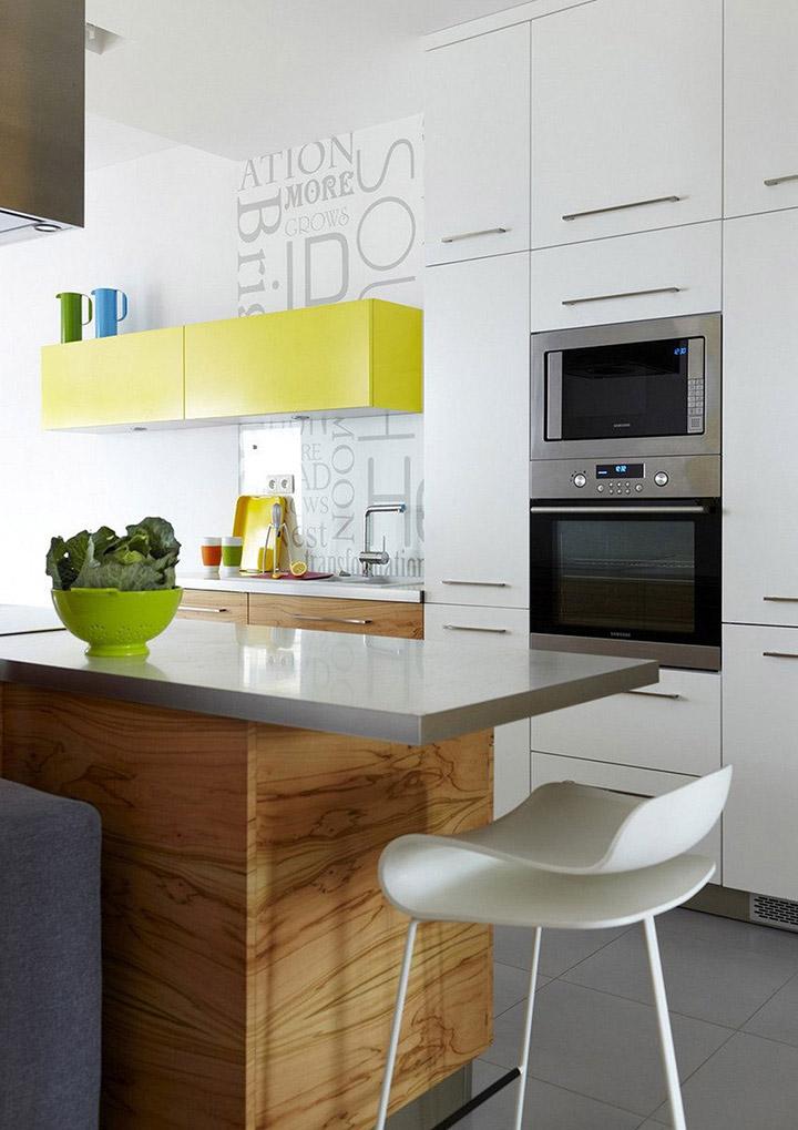Cocina de diseño pequeña de concepto abierto