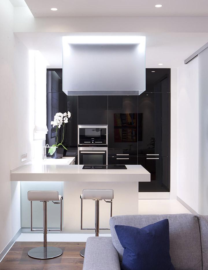 Cocina de diseño pequeña moderna