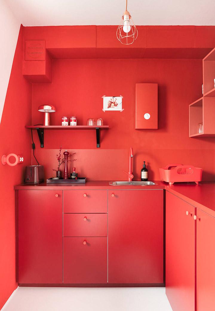 Cocina de diseño pequeña roja