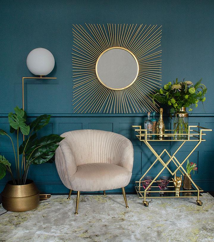 Espejo de sol cuadrado Art Deco